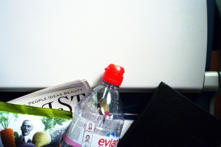 Evian water on a plane
